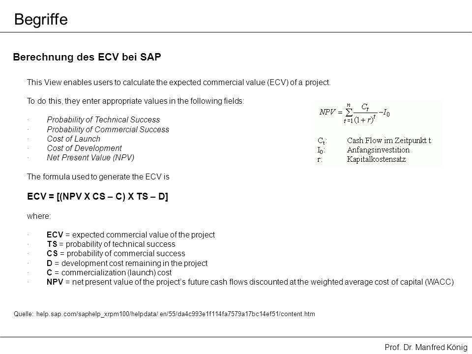 Begriffe Berechnung des ECV bei SAP ECV = [(NPV X CS – C) X TS – D]